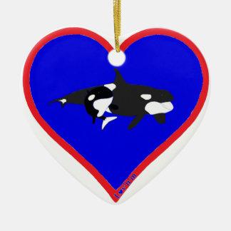 orcas adorno navideño de cerámica en forma de corazón