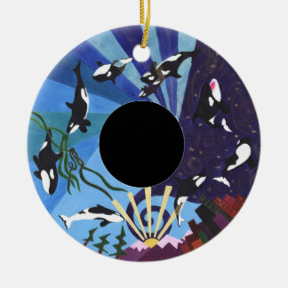 Orcas Ascending with Custom Photo Ceramic Ornament