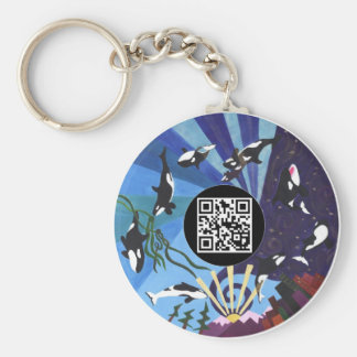 Orcas Ascending - with QR code Basic Round Button Keychain