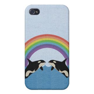 Orcas bajo caso de Iphone 4 del arco iris iPhone 4 Fundas