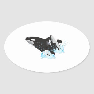 ORCAS BREACHING OVAL STICKER