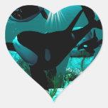 Orcas Calcomanía Corazón