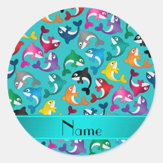 Orcas conocidas personalizadas del arco iris de la pegatina redonda
