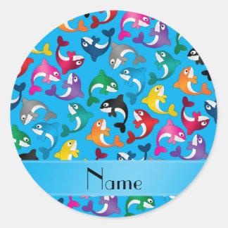 Orcas conocidas personalizadas del arco iris del pegatina redonda