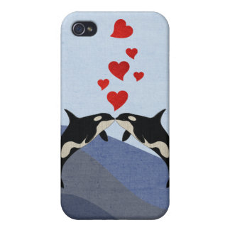 Orcas en amor iPhone 4 cárcasas