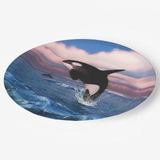 Orcas en el Océano ártico Plato De Papel 22,86 Cm
