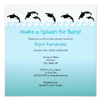 """Orcas fiesta de bienvenida al bebé de Splash'n o Invitación 5.25"""" X 5.25"""""""