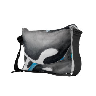 orcas in blue courier bag