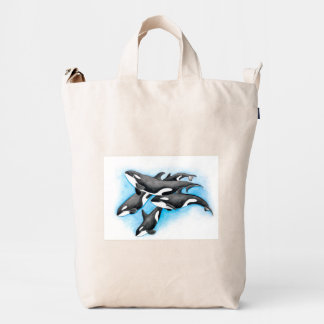orcas in blue duck bag