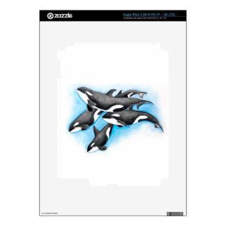 orcas in blue iPad 3 decals