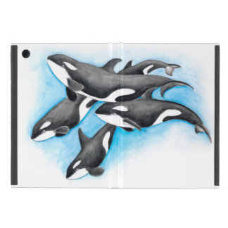 orcas in blue iPad mini case
