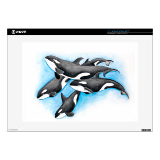 orcas in blue laptop skins