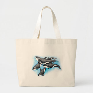orcas in blue large tote bag