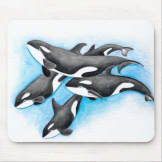orcas in blue mouse pad