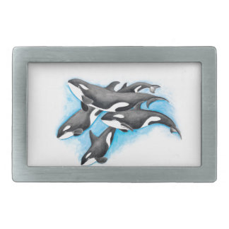 orcas in blue rectangular belt buckle
