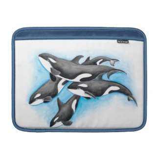 orcas in blue sleeve for MacBook air