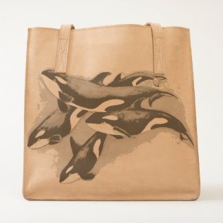 orcas in blue tote