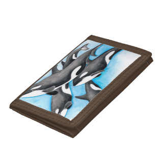 orcas in blue trifold wallets