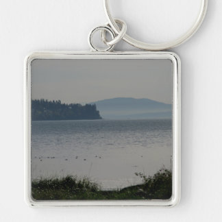 Orcas Island From Birch Bay Silver-Colored Square Keychain