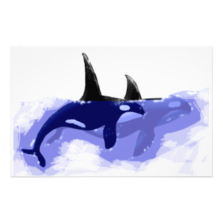 Orcas Killer Whales Stationery Paper