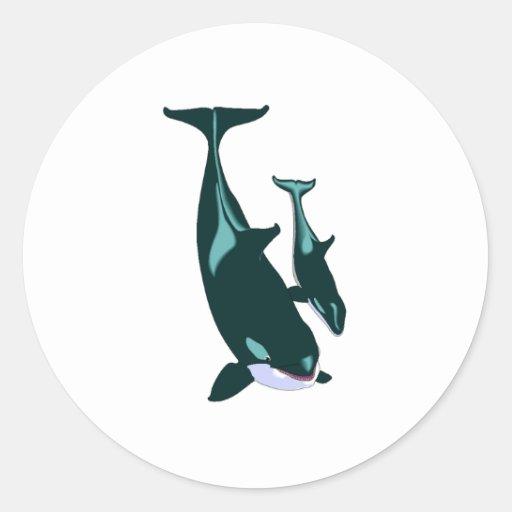 Orcas Pegatinas Redondas