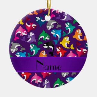 Orcas púrpuras conocidas personalizadas del arco adorno navideño redondo de cerámica