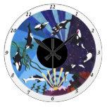 Orcas que ascienden - con números relojes de pared
