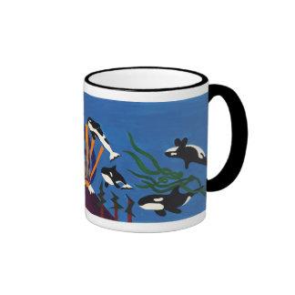 Orcas que ascienden taza de dos colores