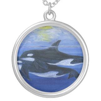 Orcas que nadan collar