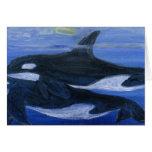 Orcas que nadan tarjeta de felicitación