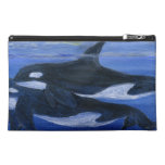 Orcas swimming bagettes bag travel accessory bag