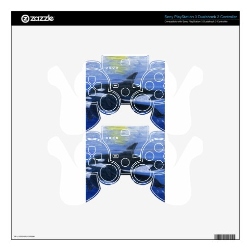 Orcas swimming PS3 controller decals