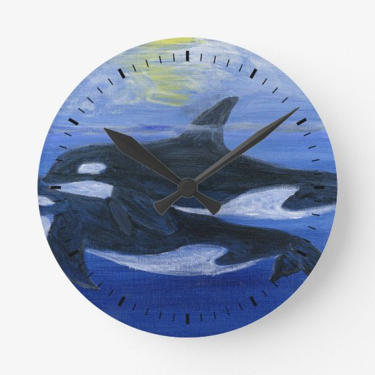 Orcas swimming wall clock 1
