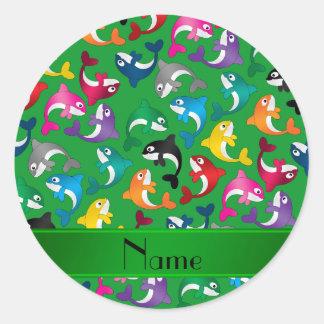 Orcas verdes conocidas personalizadas del arco pegatina redonda