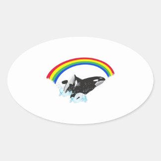 ORCAS WITH RAINBOW OVAL STICKER