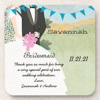 Orchard Buntings Bride & Groom Bridesmaid Coaster