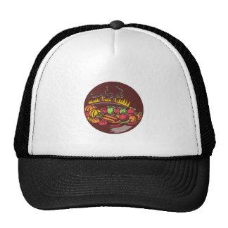 Orchard Crop Harvest Circle Woodcut Trucker Hat