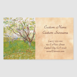 Orchard in Bloom Vincent van Gogh  fine art Rectangular Sticker