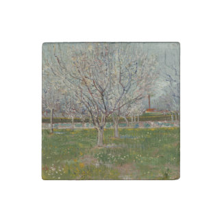 Orchard in Blossom Plum Trees by Vincent Van Gogh Stone Magnet