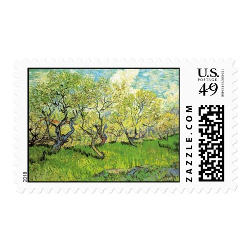 Orchard in Blossom, Vincent van Gogh Postage