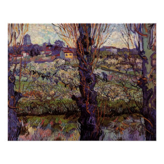 Orchard in Blossom with View of Arles by van Gogh Print