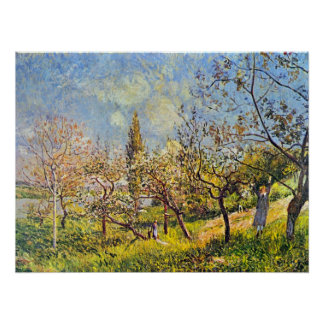 Orchard in spring by Alfred Sisley Poster