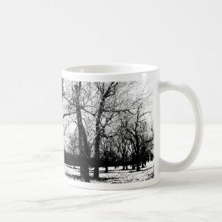 Orchard in winter mug