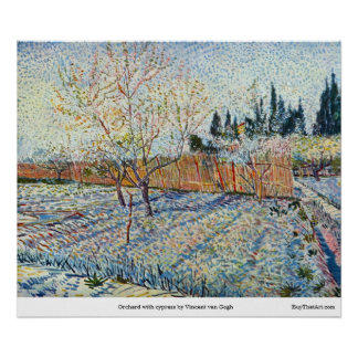 Orchard with cypress by Vincent van Gogh Print