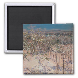 Orchard with Flowering Apple Trees, Colombes 2 Inch Square Magnet