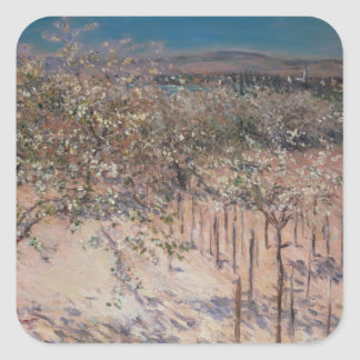 Orchard with Flowering Apple Trees, Colombes Square Sticker