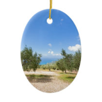 Orchard with olive trees at sea in  Greece Ceramic Ornament