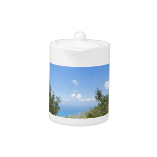 Orchard with olive trees at sea in  Greece Teapot
