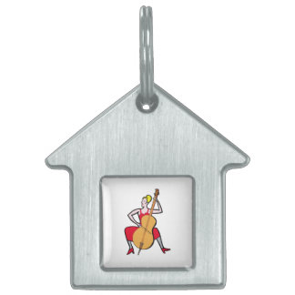 Orchestra bass player blonde female red dress.png pet ID tag