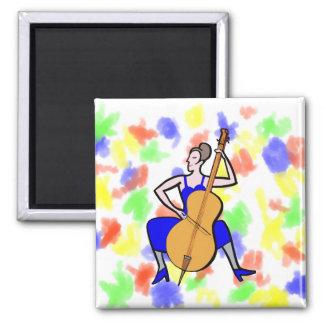 Orchestra bass player female blue dress fridge magnet